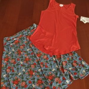 LULAROE OUTFIT! S-TANK TOP with M- AZURE SKIRT